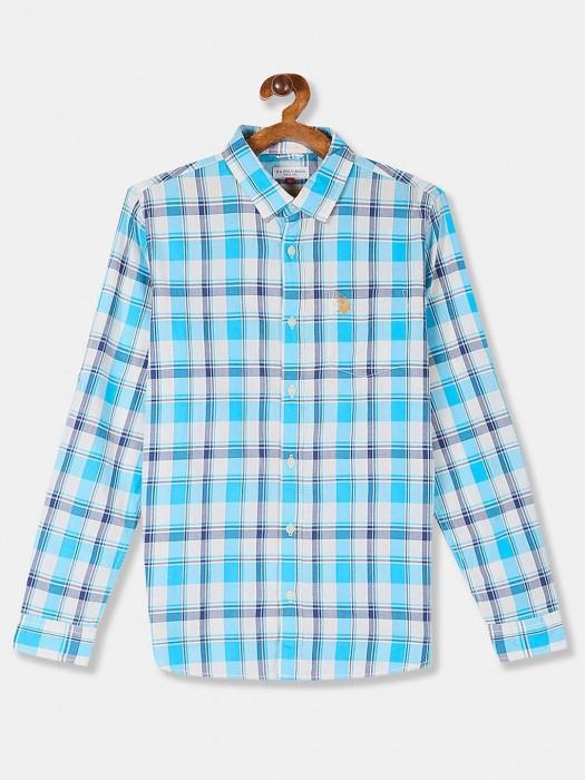 U S Polo Assn Aqua Checks Slim Fit Shirt
