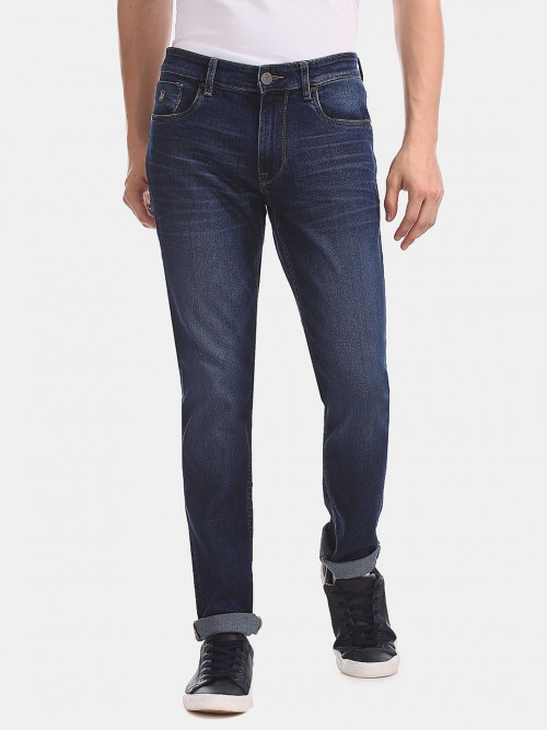 U S Polo Assn Blue Solid Slim Fit Jeans