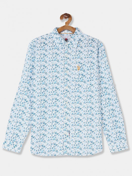 U S Polo Assn Boys Sky Blue Printed Shirt