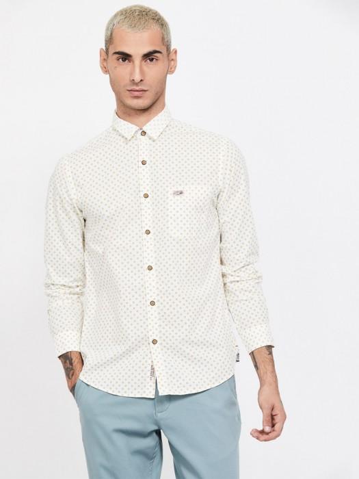 U S Polo Assn Cream Printed Shirt