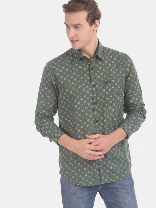 U S Polo Assn Full Sleeves Green Printed Shirt