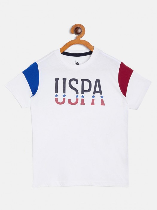 U S Polo Assn Half Sleeves White Printed T-shirt