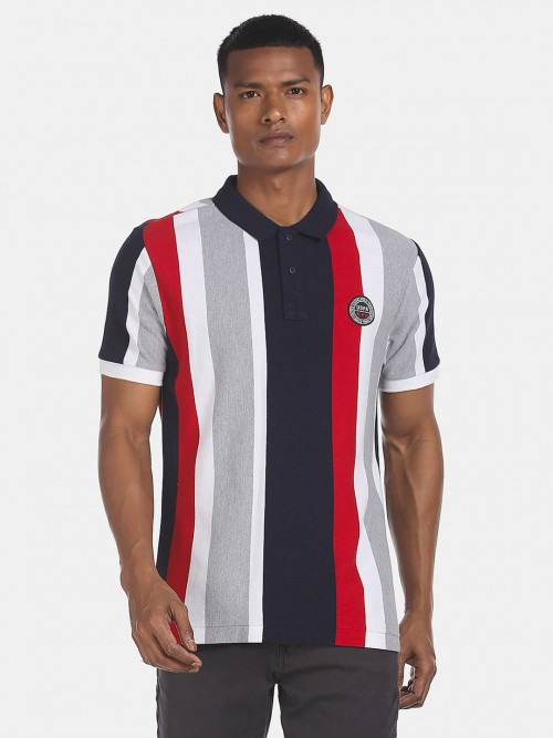 U S Polo Assn Navy And Red Stripe Slim Fit Polo T-shirt