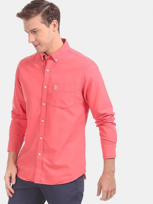 U S Polo Assn Peach Solid Buttoned Down Shirt
