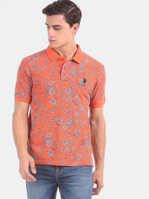 U S Polo Assn Printed Orange T-shirt