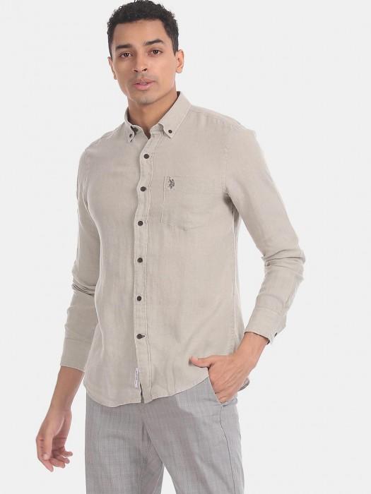 U S Polo Assn Solid Beige Cotton Shirt