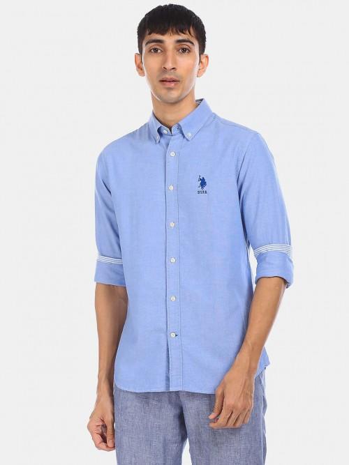 U S Polo Assn Solid Blue Slim Fit Shirt