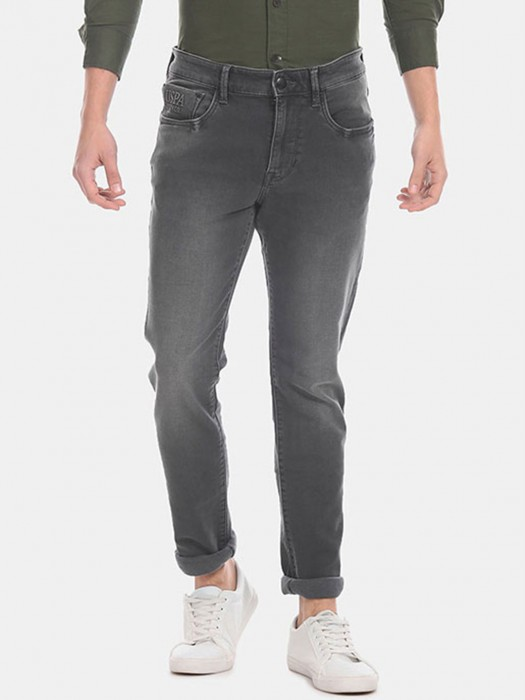 U S Polo Assn Solid Dark Grey Taper Slim Fit Jeans