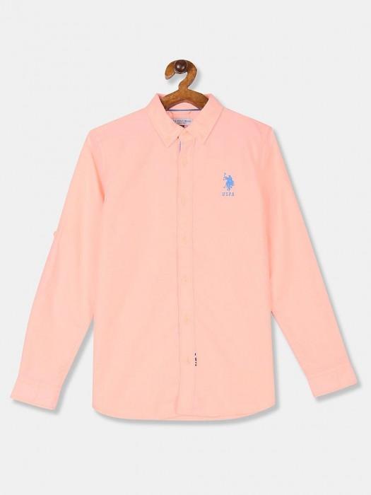 U S Polo Assn Solid Peach Cotton Shirt