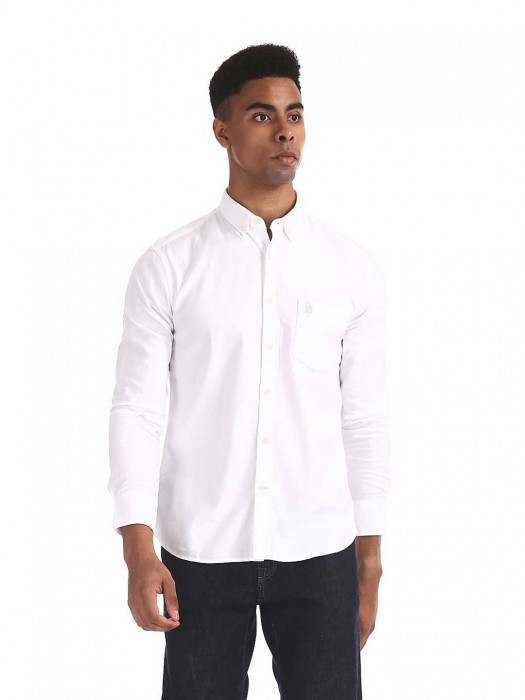 U S Polo Assn Solid White Buttoned Down Collar Shirt
