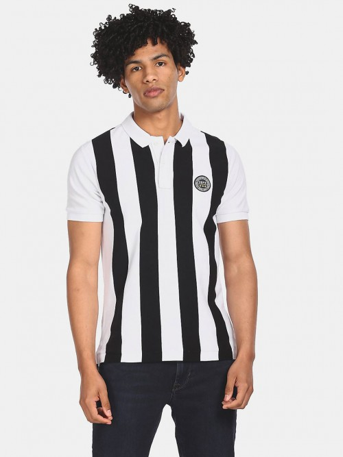 U S Polo Assn White And Black Stripe Mens T-shirt