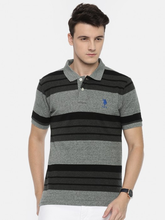 U S Polo Black And Grey Casual T-shirt