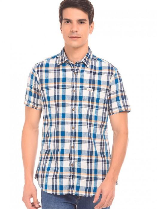U S Polo Cream And Blue Color Shirt