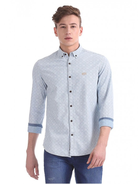 U S Polo Grey Printed Cotton Fabric Shirt