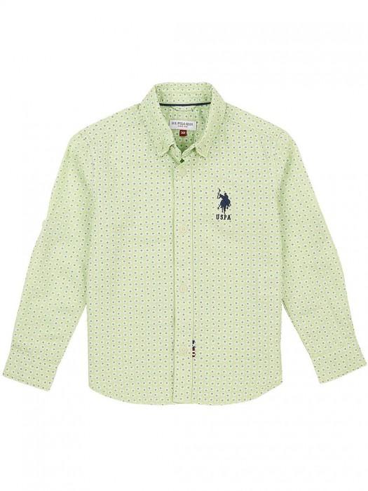U S Polo Light Green Cotton Shirt