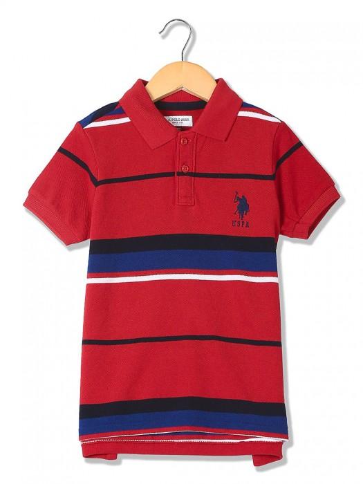 U S Polo Red Cotton Fabric T-shirt