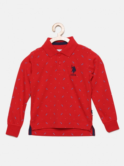 U S Polo Red Printed Cotton Fabric T-shirt