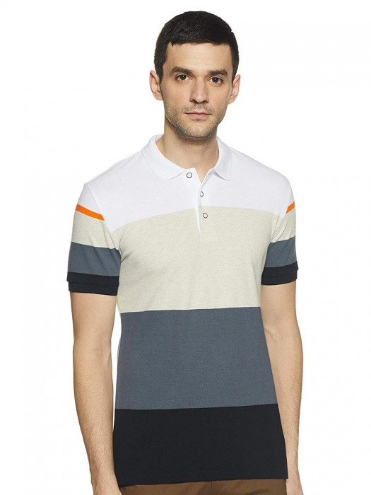 UCB Beige And Grey Stripe Polo T-shirt