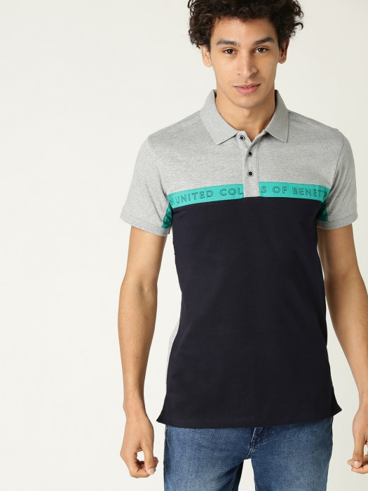 UCB Navy And Grey Solid Cotton T-shirt