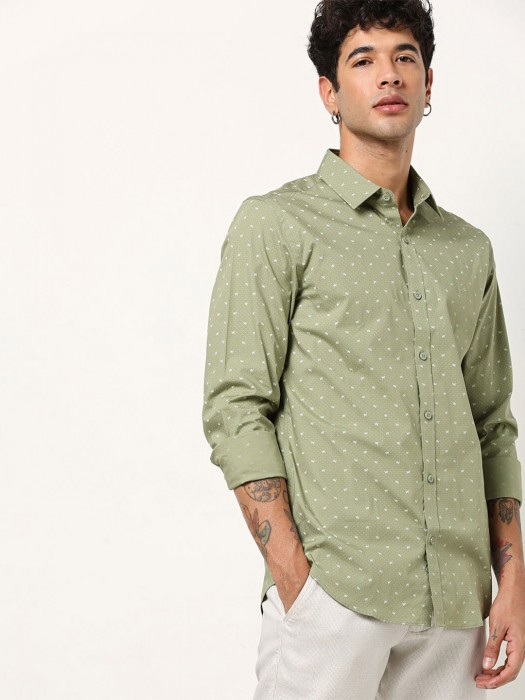 UCB Printed Cotton Olive Shirt