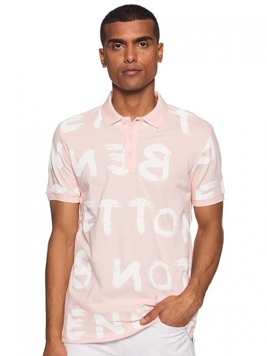 UCB Printed Light Pink Half Sleeves Cotton T-shirt