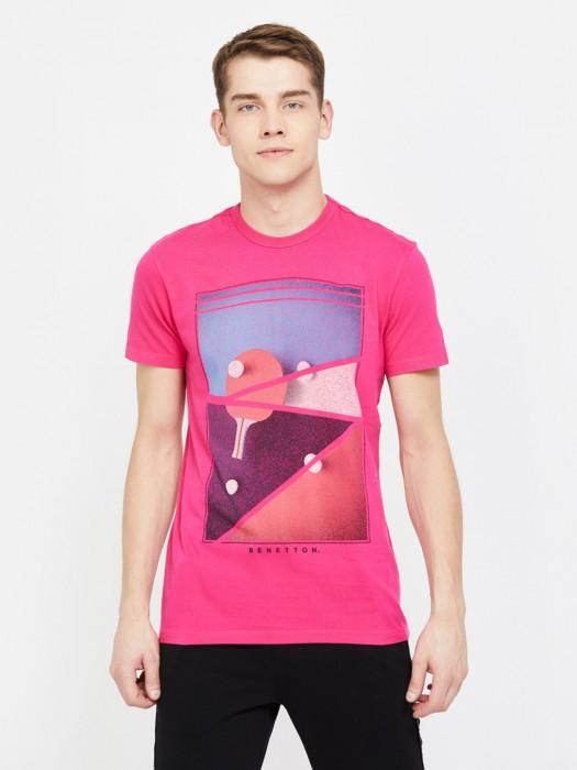 UCB Printed Magenta Half Sleeves Cotton T-shirt