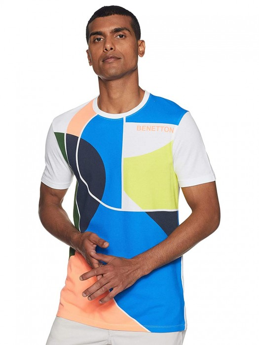United Colors Of Benetton Blue Printed Casual T-shirt