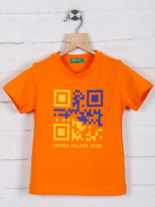 United Colors Of Benetton Orange Printed Casual T-shirt