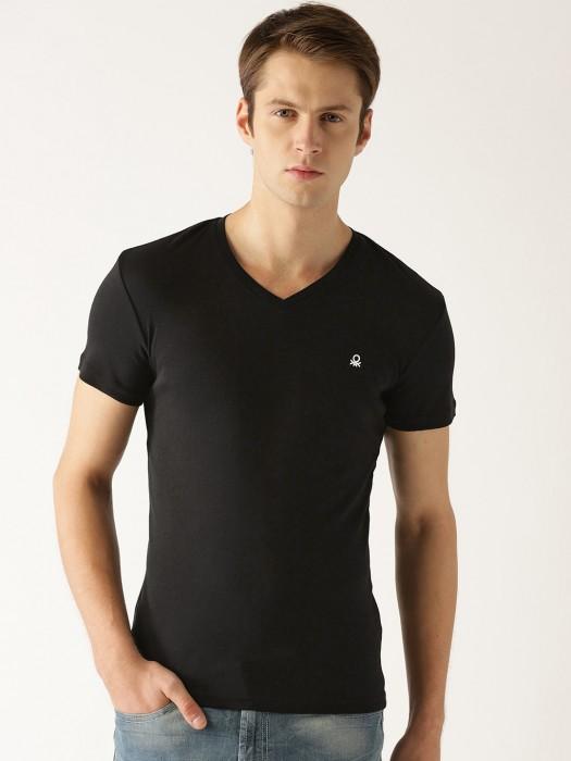 United Colors Of Benetton Plain Black T-shirt