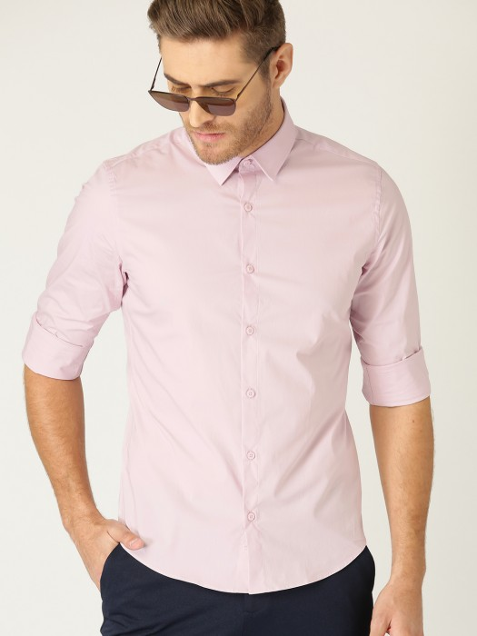 United Colors Of Benetton Solid Pink Cotton Shirt
