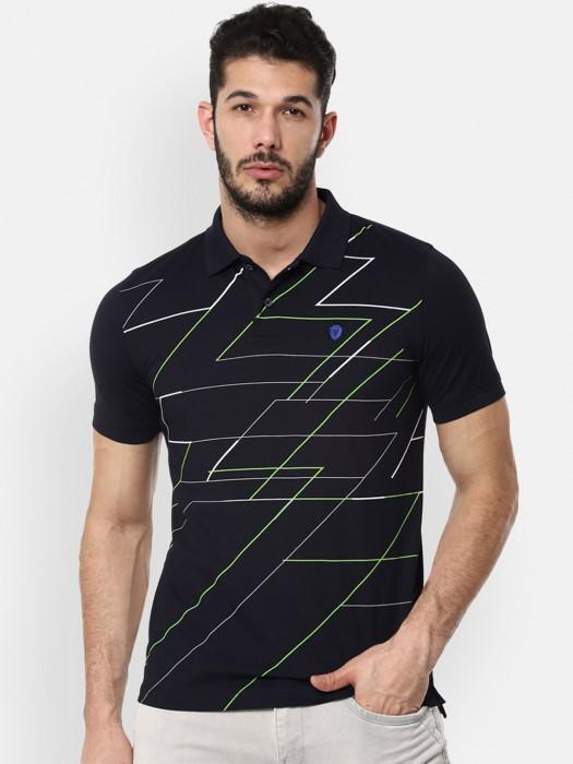 Van Heusen Black Printed Casual Wear T-shirt
