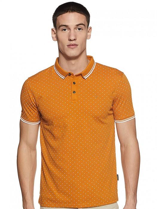 Van Heusen Casual Wear Orange Printed T-shirt