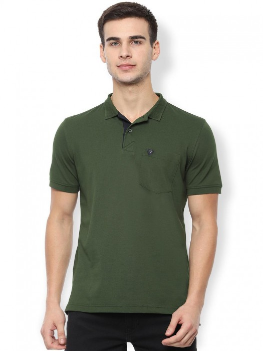 Van Heusen Green Slim Fit Solid T-shirt