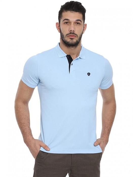Van Heusen Light Blue Casual Solid T-shirt