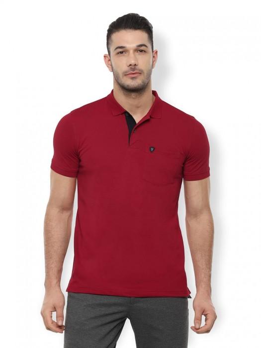 Van Heusen Magenta Solid T-shirt
