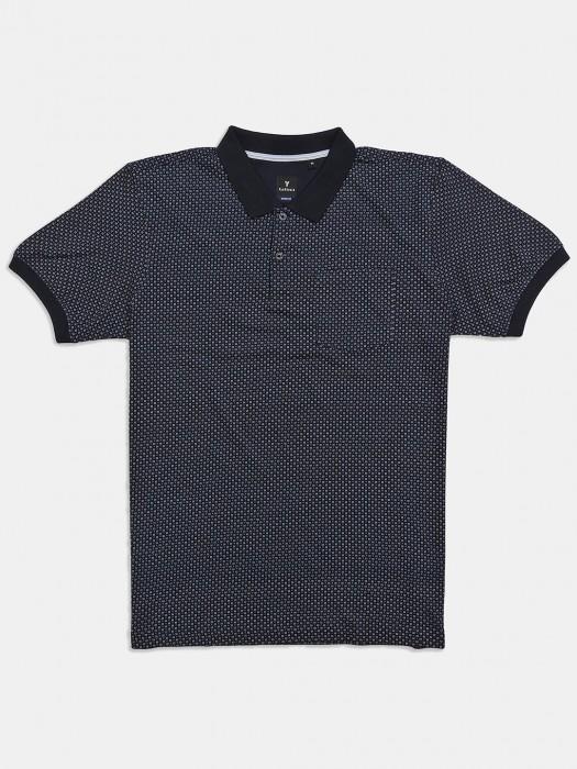 Van Heusen Navy Printed Slim Fit T-shirt