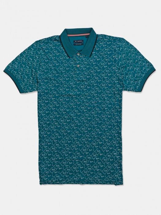 Van Heusen Printed Green Mens T-shirt