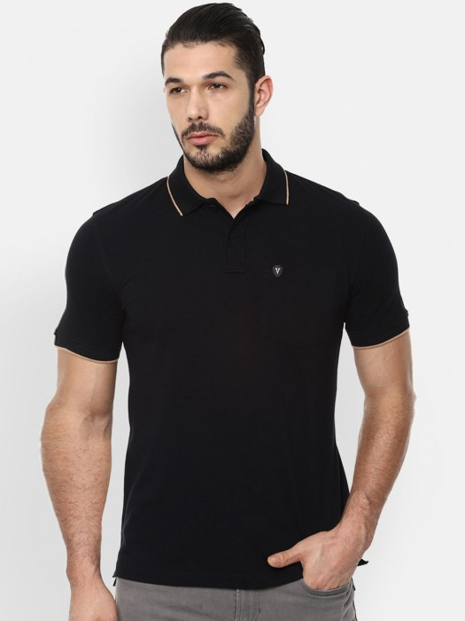 Van Heusen Solid Black T-shirt