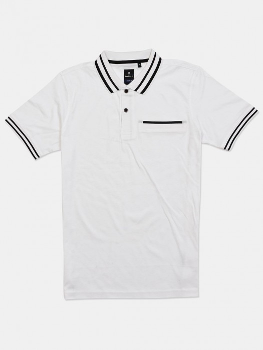 Van Heusen White Solid Vented Hem T-shirt