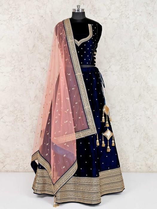 Velvet Navy Semi Stitched Wedding Lehenga Choli