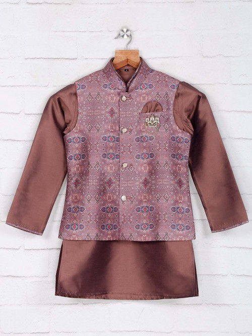 Violet Cotton Silk Waistcoat For Boys