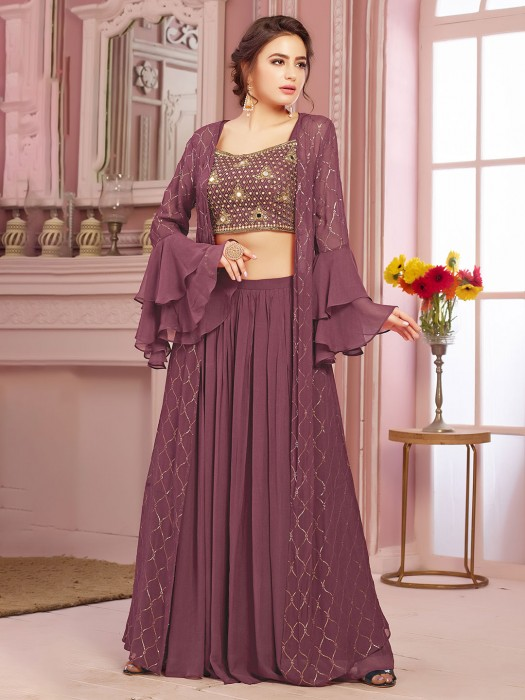 Violet Indo Western Crop Top With Lehenga And Shrug