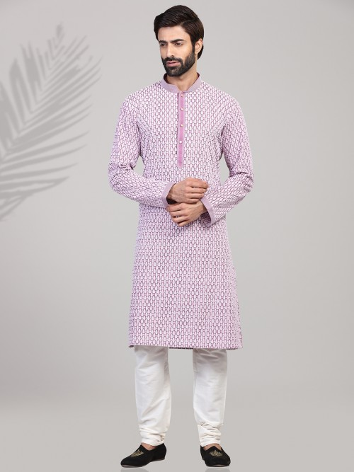 Violet Kurta Suit In Cotton With Chikan Thread Work
