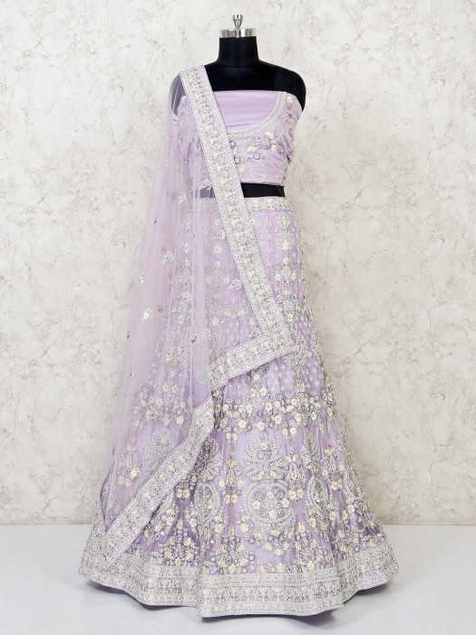 Violet Net Zari Weaving Semi Stitched Lehenga Choli