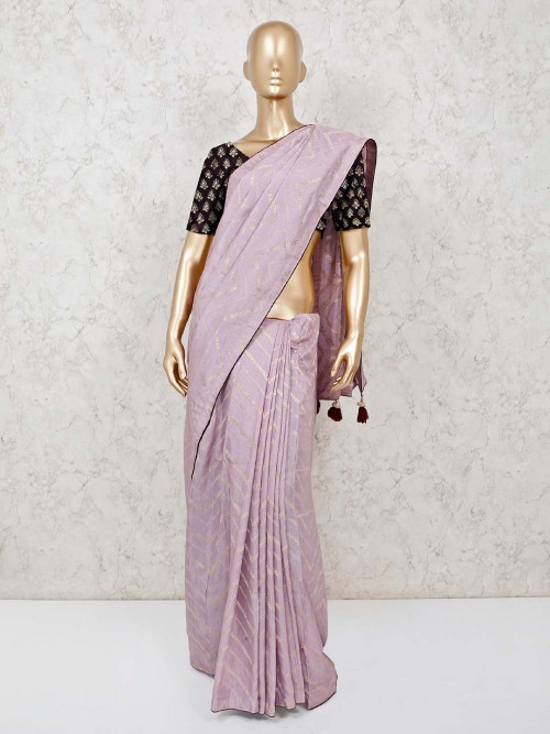Violet Zari Weaving Leheriya Cotton Silk Saree