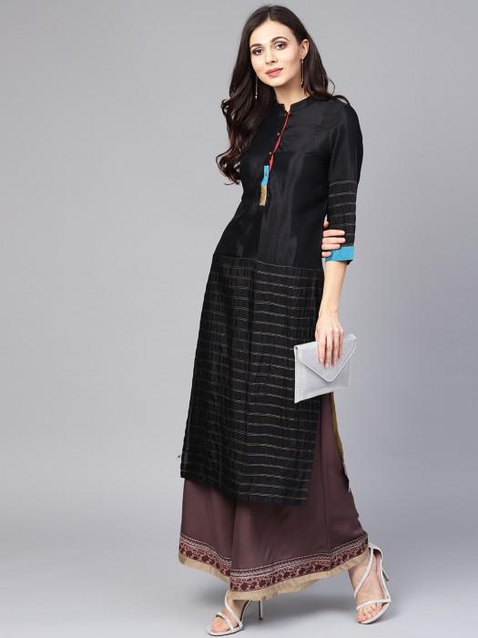 W Black Colored Cotton Kurti
