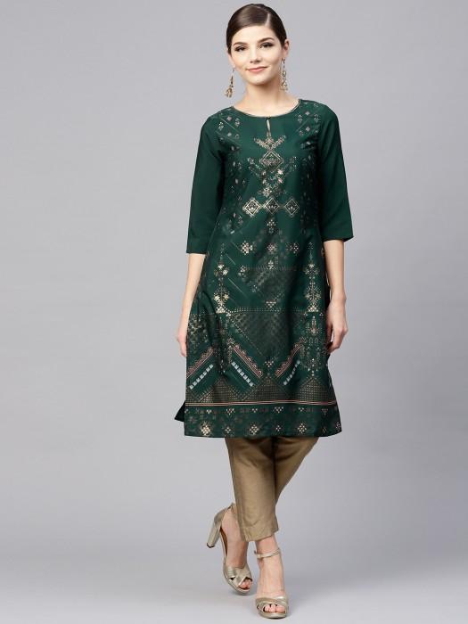 W Emerald Green Festive Cotton Kurti