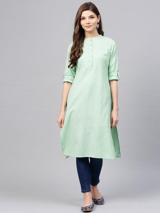 W Green Color Cotton Fabri Kurti