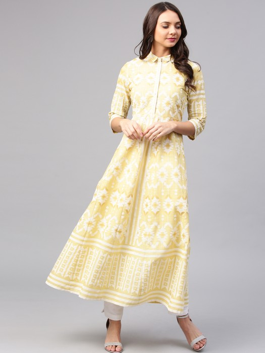W Lemon Yellow Color Printed Kurti