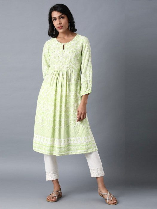 W Pista Green Printed Cotton Kurti